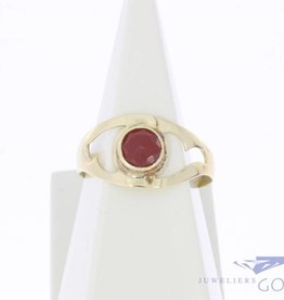 Vintage 14k gouden open ring met carneool