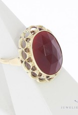 Vintage 14 carat gold ring with large faceted carnelian