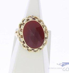 Vintage 14k gouden ring met grote facet geslepen carneool
