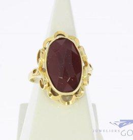 Vintage 14k gouden ring met facet geslepen carneool