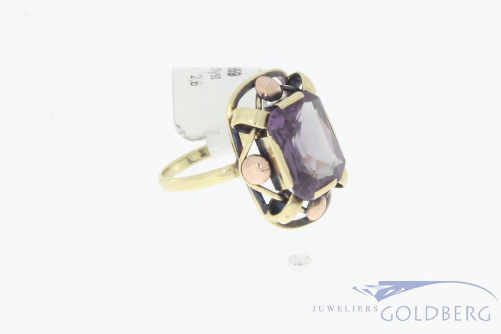 Lovely vintage 14 carat gold ring with amethyst