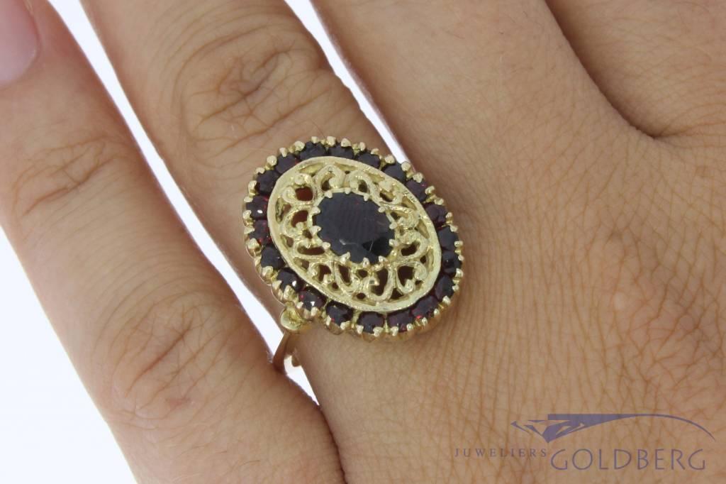 Vintage 14k gouden ring met granaten