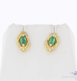 Vintage 18 carat gold earrings with emerald and diamond