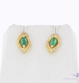Vintage 18k gouden oorstekers met smaragd en diamant