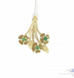 Vintage 14k gouden bloemen hanger met smaragd