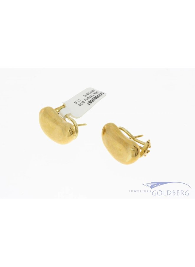 Vintage 18 carat gold Tiffany & Co Peretti Bean earstuds