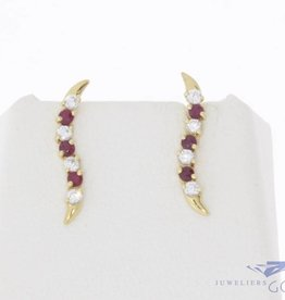 Vintage 14 carat gold earrings with ruby and zirconia