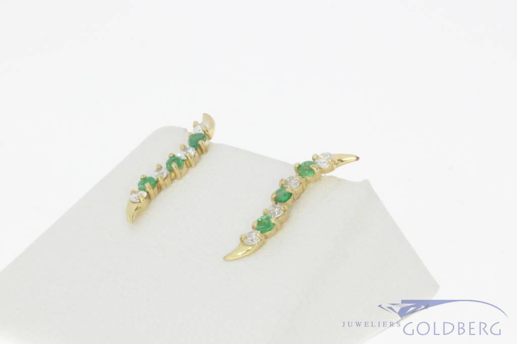 Vintage 14 carat gold earrings with emerald and zirconia