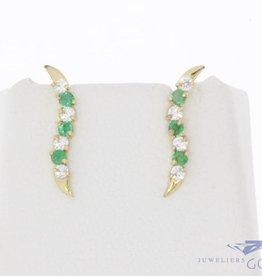 Vintage 14k gouden oorstekers met smaragd en zirconia