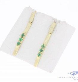 Vintage 14k gouden hangende oorstekers met smaragd