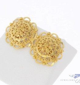 Vintage 20k gouden filigrain oorstekers