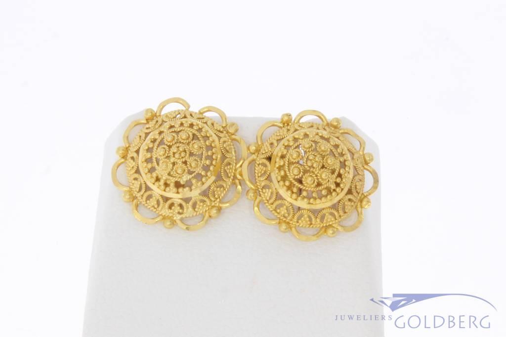 Vintage 20 carat gold filigree earrings