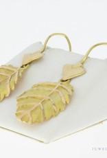 Vintage 14k gouden bladvormige oorhangers