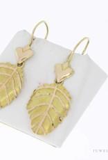 Vintage 14 carat gold leaf shaped earrings