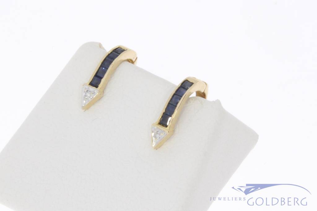 Vintage 14 carat gold earrings with blue sapphire and diamonds