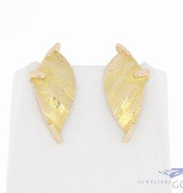 Vintage 14k gouden bewerkte design oorstekers