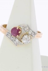 Antique  18 carat gold ring with rose cut diamond and ruby