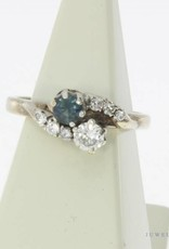 Vintage 14 carat gold ring with blue sapphire and approx. 0.30ct brilliant cut diamond