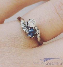 Vintage 14k gouden ring met saffier en ca. 0.30ct briljant geslepen diamant