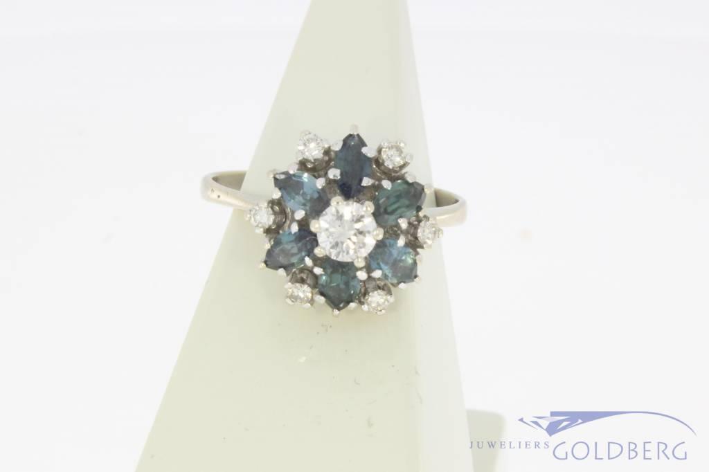 14k witgouden rozet ring met blauwe saffier en ca. 0.39ct briljant geslepen diamant