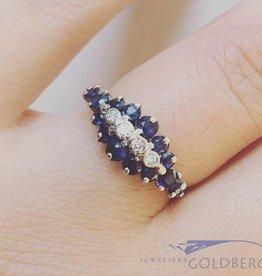 Vintage 18k witgouden ring met blauwe saffier en ca. 0.05ct diamant