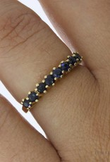 Vintage 18 carat gold alliance ring with blue sapphire