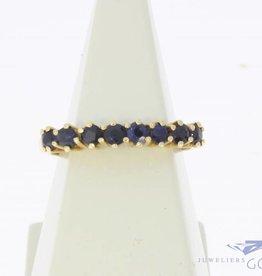 Vintage 18k gouden alliance ring met blauwe saffier