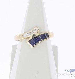 Vintage 14k gouden ring met blauwe saffier en ca. 0.05ct briljant geslepen diamant