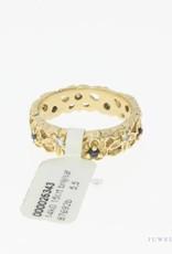 Robuuste vintage 14k gouden ring met blauwe saffier en ca. 0.15ct briljant geslepen diamant