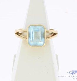 Vintage 18k gouden ring met fluoriet