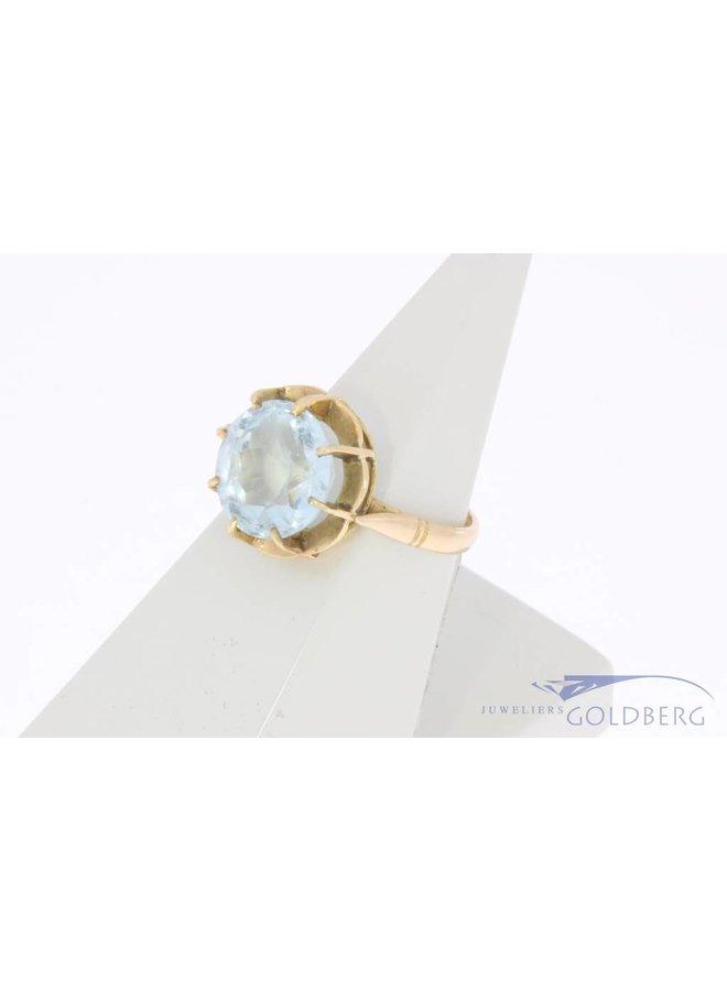 Vintage 18k gouden ring met facet geslepen topaas