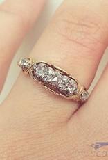 Antieke 14k gouden alliance ring met roos geslepen diamant