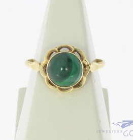 Vintage 14 carat gold ring with malachite