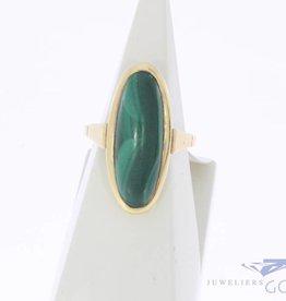 Vintage 14k gouden ring met grote malachiet
