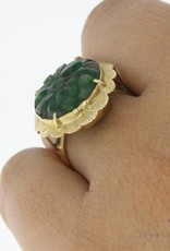 Vintage 14 carat gold ring with carved jade