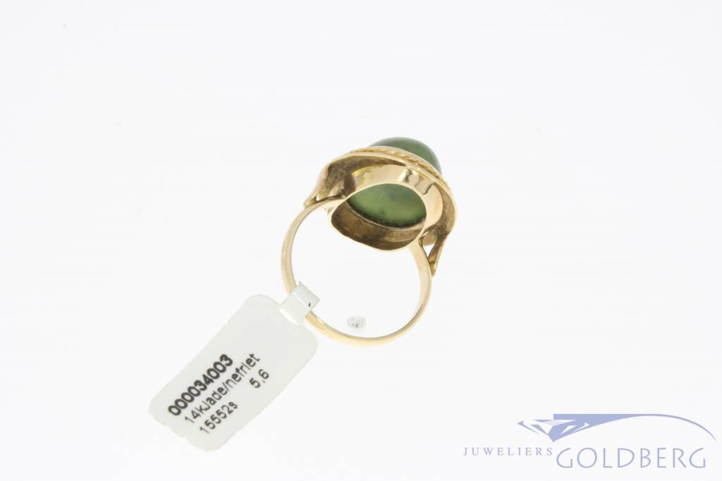 Vintage 14 carat gold ring with Nephrite
