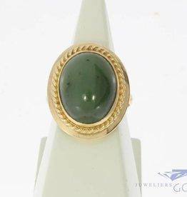 Vintage 14k gouden ring met Nefriet