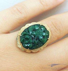 Vintage 14k gouden ring met gegraveerde jade