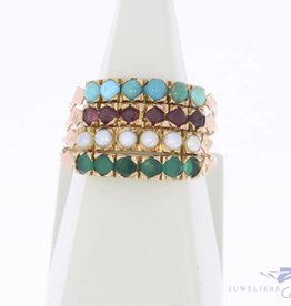 Vintage 14 carat gold 4-in-1 alliance ring with emerald, garnet, pearl and turquoise