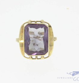 Vintage 14k gouden ring met grote amethist