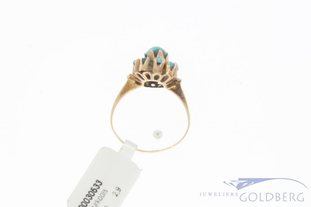 Vintage 14 carat gold ring with turquoise