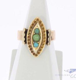 Vintage 14k gouden ring met turkoois