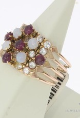 Vintage 14 carat gold 5-in-1 alliance ring with opal, ruby and rhinestones