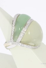 18 carat white gold ring with jade, moonstone and approx. 0.40ct brilliant cut diamond