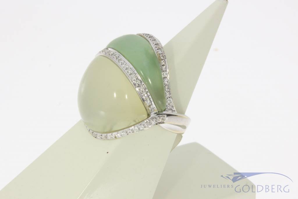 18k witgouden gebolde ring met jade, maansteen en ca. 0.40ct briljant geslepen diamant