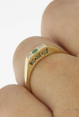 Vintage 14k gouden alliance ring met smaragd en ca. 0.05ct briljant geslepen diamant