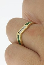 Vintage 18 carat gold alliance ring with synthetic emerald and zirconia