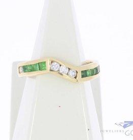 Vintage 18k gouden alliance ring met synthetische smaragd en zirconia