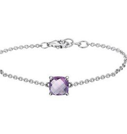Silver bracelet with purple amethyst