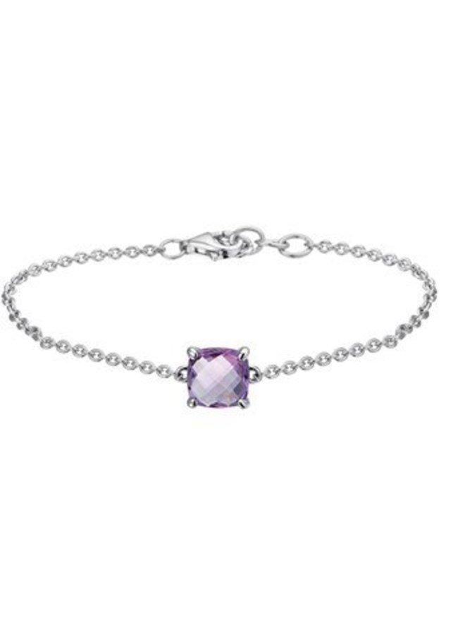 Silver bracelet with purple amethyst
